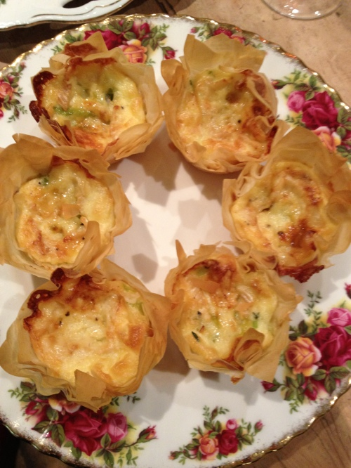 Leek and smoked Camembert filo tarts