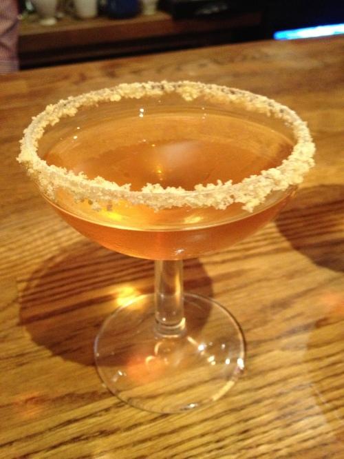 Rhubarb crumble martini