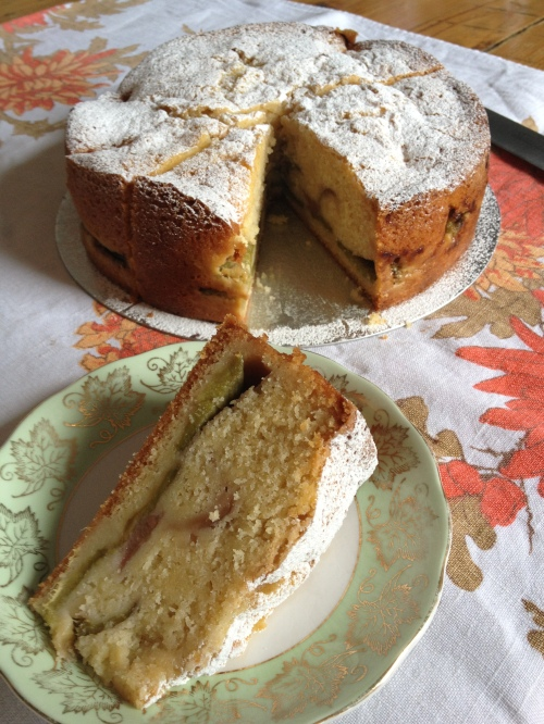 Rhubarb and custard cake