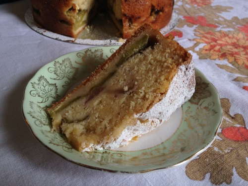 A slice of rhubarb and custard cake