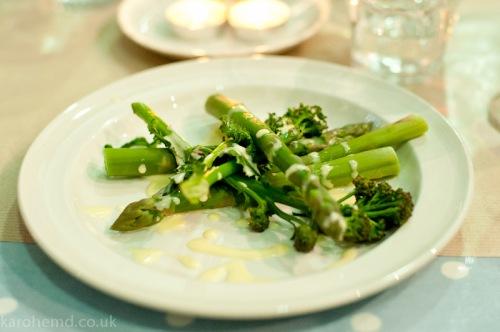 British asparagus & psb w/ homemade hollandaise