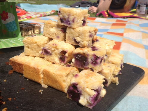 White chocolate, almond and blueberry blondie