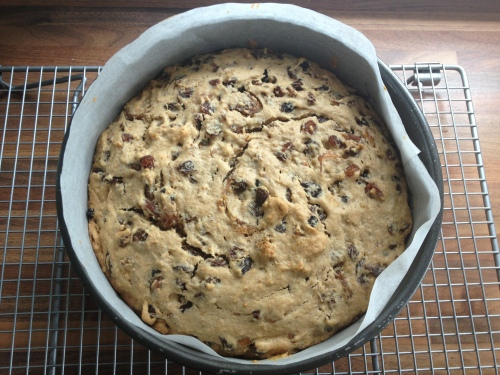 Rum soaked fruit cake fresh out of the oven...