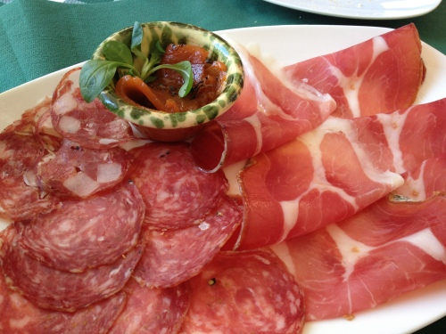 Selection of regional cold cuts at Osteria del Borgo