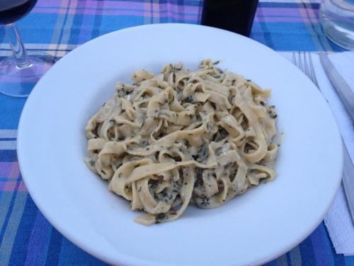Our fettucine with homemade basil and ricotta pesto