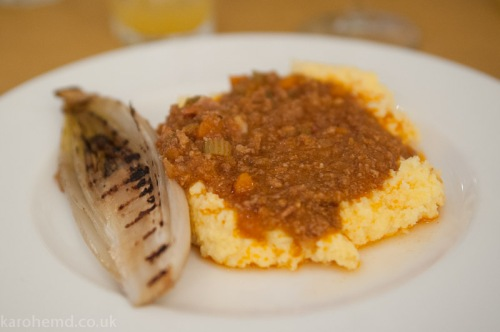Ragu with polenta and chargrilled chicory