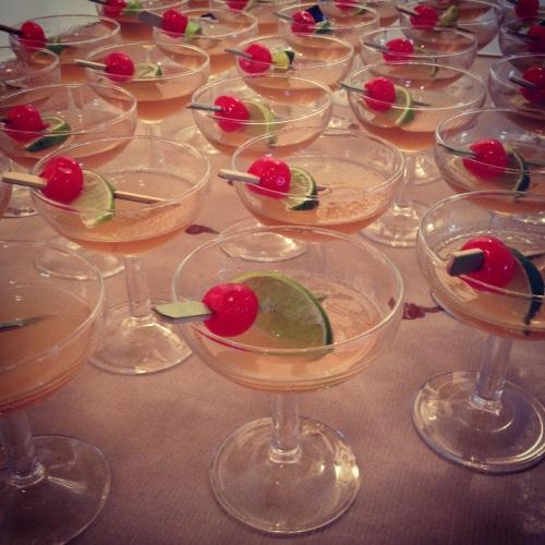 Homemade amaretto sours cocktails