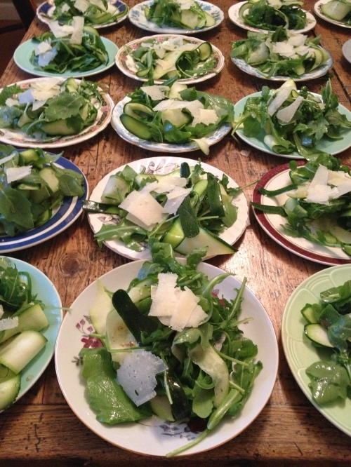 courgette and rocket salad with aged pecorino and homemade truffle honey