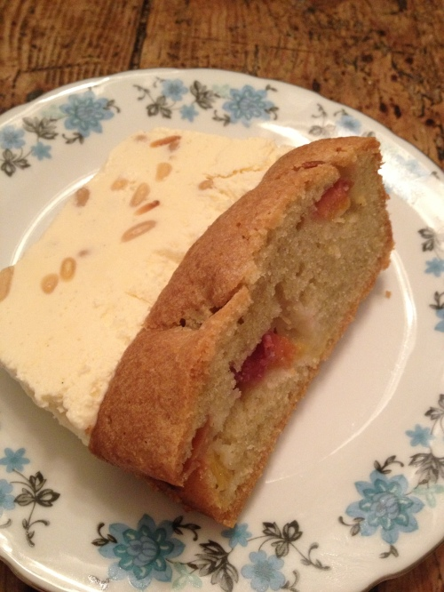 Peach and oliveoil cake with pine nut semi freddo
