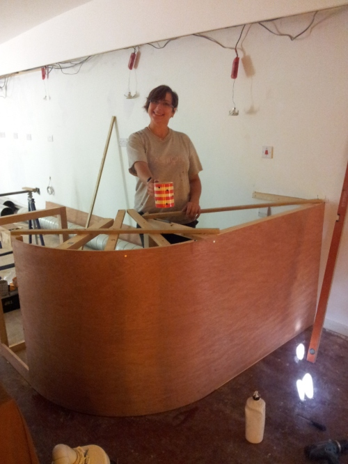 My Sister building the counter