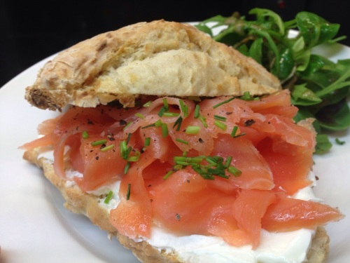Smoked salmon & cream cheese in a homemade soda bread scone