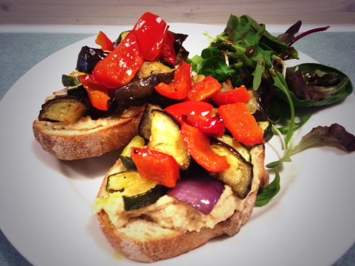 Roasted veg & homemade hummus on sourdough toast