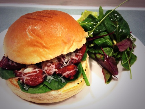 Chorizo, spinach & manchego on a toasted brioche bun